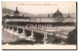 The Lyon Bridge Guillotire st l & # 39Hotel-God- Old Postcard