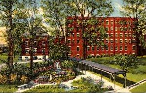 North Carolina Charlotte Mercy Hospital School Of Nursing Rear View Curteich