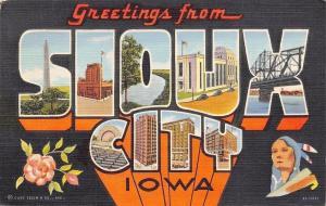 Sioux City Iowa~Large Letter Linen Bridge, Buildinga In Sioux City~1939