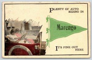 Plenty of Auto Riding in Marengo Iowa~Girls in Vintage Car~1915 Pennant PC