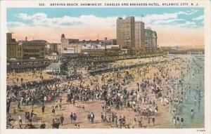 New Jersey Atlantic City Bathing Beach Showing Saint Charles And Breakers Hotel
