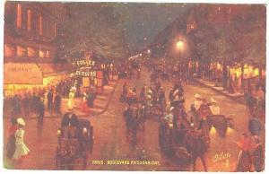 Raphael Tuck Follies Bergere Paris Boulevard Poissonniere Night View Postcard