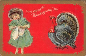 Good Wishes For Thanksgiving Day, Girl & Turkey c1910s Vintage Embossed Postcard