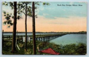 Postcard MS Biloxi Back Bay Bridge c1915 View C02
