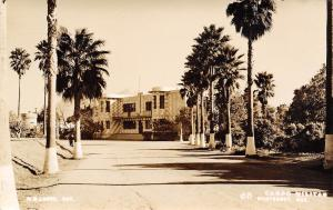 Monterey Mexico~Campo Militar~Military Camp~Checkerboard Design RPPC 1950s?