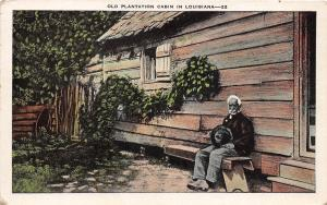 B2/ Black Americana Postcard c1930 Old Plantation Cabin in Louisiana Man 20