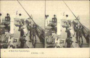 French Naval Ship Stereoview Postcard - Stereoptic
