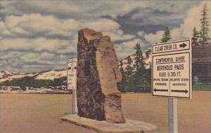 Colorado Denver Markers At The Summit Of Berthoud Pass Alt 11315 Feet Above T...