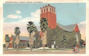 Pomona California Congregational Church Street View Antique Postcard K54465