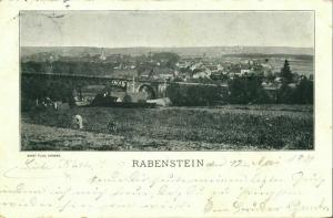 RABENSTEIN, Chemnitz, Panorama mit Rabensteiner Eisenbahnviadukt (1901) AK