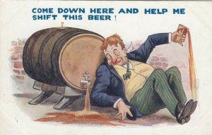 Drunk and keg of beer, 1900-10s