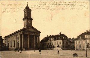CPA AK Ansbach- Karlsplatz u. St. Ludwigskirche GERMANY (945321)