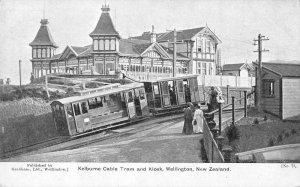 Wellington New Zealand Kelburne Cable Tram and Kiosk Vintage Postcard AA1641