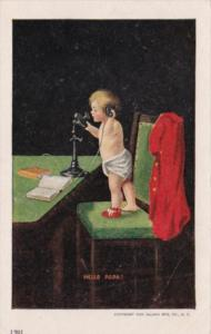 Humour Young Child On Telephone Hello Papa
