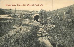 Bridge Town Hall C-1910 MINERAL POINT WISCONSIN Jobber postcard 4079