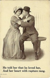 Antique Postcard He told her that he loved her... Early 1900s Romantic/Romance