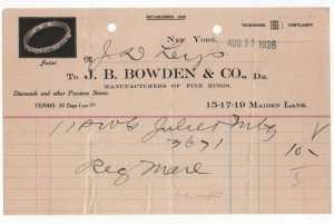 1926 Billhead,  ,J. B. BOWDEN & CO., Dr, Manufacturers of Fine Rings, New York