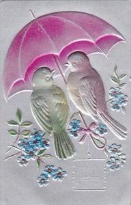 Hearty Greetings Birds Sitting Under Umbrella Embossed
