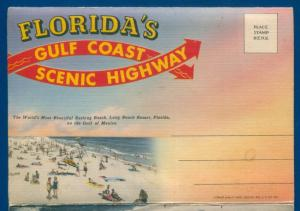 Florida's Gulf Coast Scenic Highway linen Postcard Folder