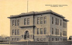 Julesburg Colorado~Sedgwick County High School~Buildings Behind~1915 B&W PC