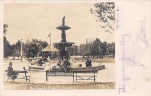 South Bend IN Folks Around Studebaker Electric Fountain RPPC 1906 UDB