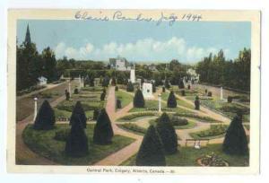 Central Park Scene in Calgary Alberta Canada 1944 PECO White Border