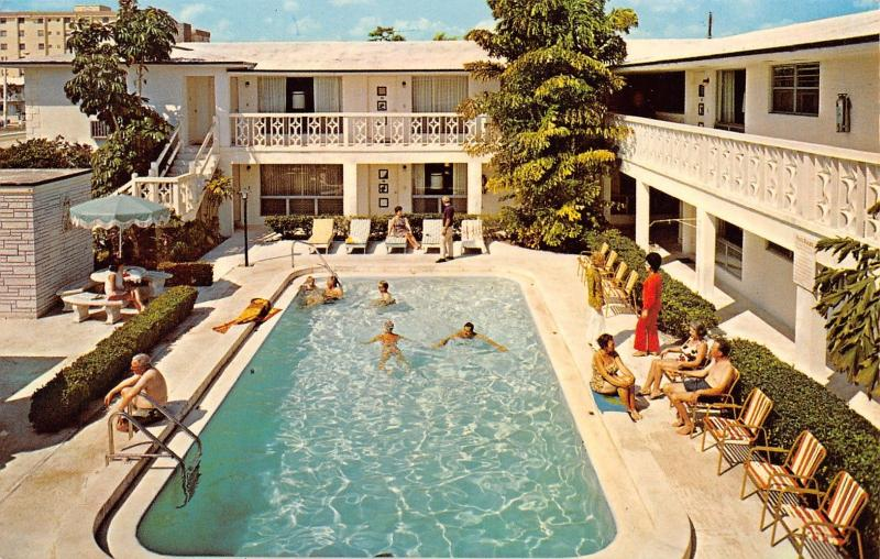 Hollywood Florida~May-Dee Apartments Pool~Bee-Hive Hairdo~Red Pantsuit Lady~1970