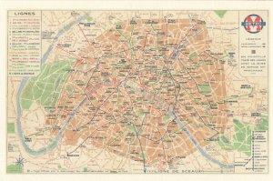 Lignes French Metro Rare Map Postcard