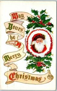 Vintage SANTA CLAUS Postcard May Yours Be A Merry Christmas w/ 1910 Cancel