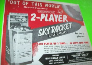 Sky Rocket Genco Arcade FLYER Original NOS 1955 Rifle Gun Shooting Gallery Art