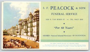 Milwaukee Peacock Funeral Home~Blotter~Great White Palace in Upaidar India 1940s