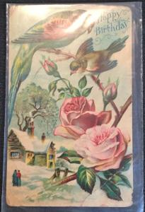 "Postcard Used Stamp missing Creases ""Happy Birthday"" Birds/Flowers LB"