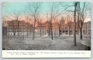 Jacksonville Illinois~Women's College~Bare Trees in Front~1909 Colored Sky Pc
