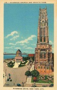 Postcard Riverside Church and Grants Tomb New York