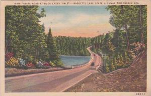 New York Adirondack Mountains State Road At Buck Creek Inlet Raquette Lake Hi...