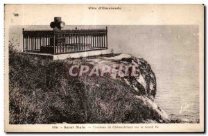 Postcard Old Saint Malo Tomb of Chateaubriand on the Grand