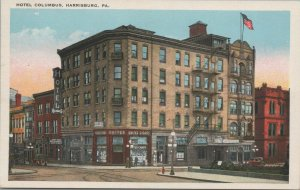 Harrisburg Pa Hotel Columbus Vintage Postcard, Pub. by The Harrisburg specialty