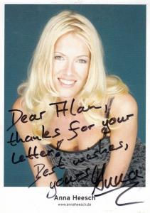 Anna Heesch German TV Presenter Promischweiß und Edelweiß Hand Signed Photo