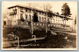 Bayfield WI~Looking Up At Pureair Sanatorium~2 Stand on Balcony~Razed~RPPC 1925