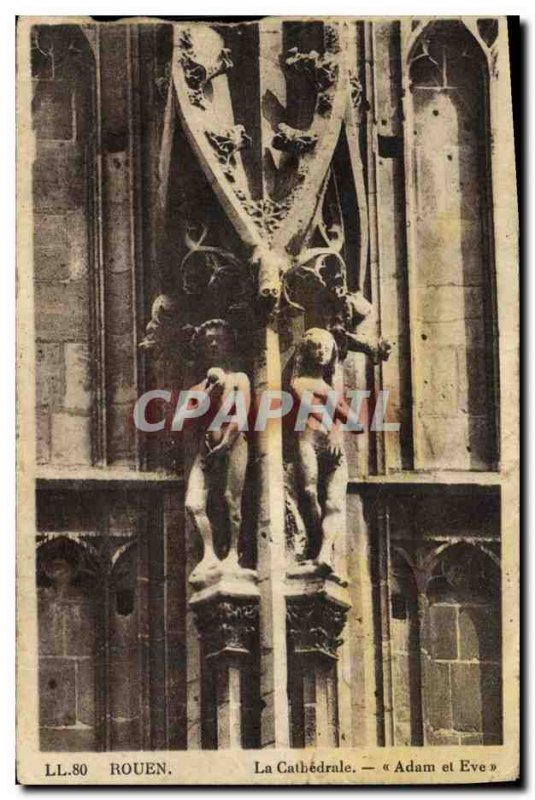 Old Postcard Rouen Cathedral Adam and Eve