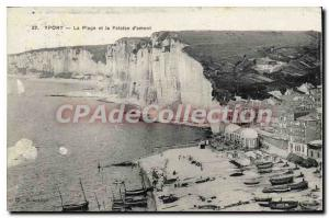 Old Postcard Yport The Beach And The Cliff D'Amont