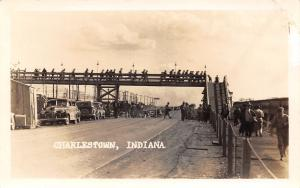 Charlestown Indiana~Army Ammunition Plant Complex~Footbridge~Workers~1940s RPPC