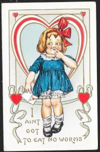 Valentine Girl In Blue Dress I Aint Got To Eat No Worms Used c1910s