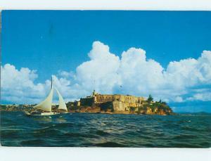 Pre-1980 SAIL BOAT & MORRO CASTLE San Juan Puerto Rico PR Q0941