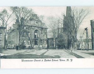 Pre-1907 SCHOOL AND CHURCH Utica New York NY G4460