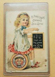 1887 Trade Card Chadwick Spool Cotton Thread GS Lings Agent New York Chalkboard