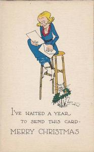 Christmas Greetings, Lady Sitting On A Stool, White Cat, I've Waited A Year ...