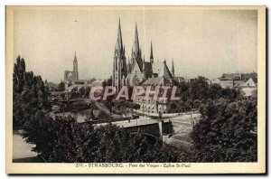 Old Postcard Strassburg Church St Paul Pont des Vosges