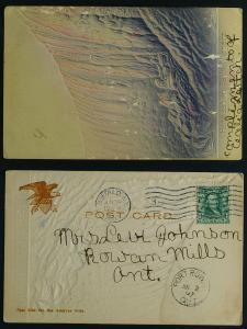Horseshoe Falls heavily embossed card Pmk 1907 Buffalo