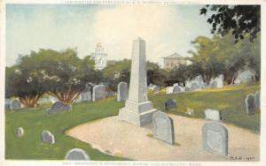 Plymouth MA~Burial Hill Cemetery Tombstones~Bradford's Grave~Detroit Pub Co 1910